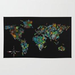 world map feathers mandala Rug