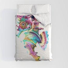 Seahorse , multi colored sea world animal art, design, cute animal art beach Comforters