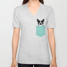 Logan - Boston Terrier pet design with bold and modern colors for pet lovers Unisex V-Neck