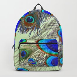 DECORATIVE BLUE GREEN PEACOCK FEATHER & JEWELS #3 PATTERN Backpack