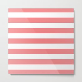 Coral and White Stripes Metal Print