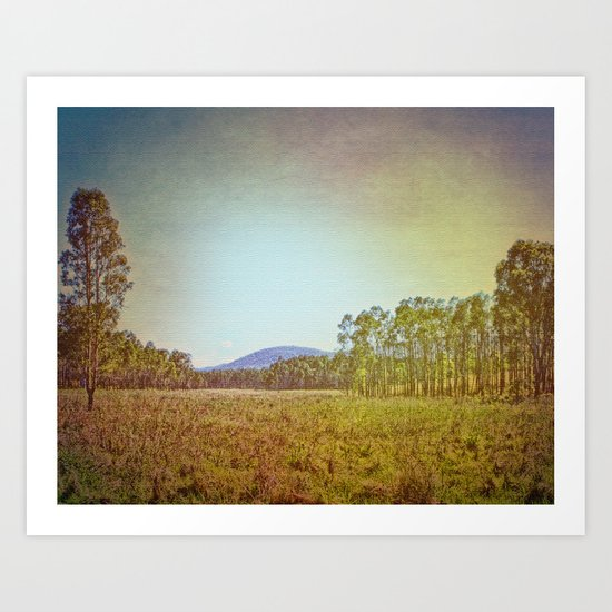 Australian Bush and Hill Art Print