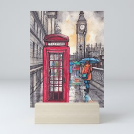 Rainy day in London ink & watercolor illustration Mini Art Print