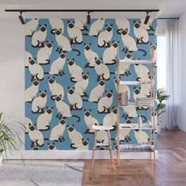 Siamese Cats crowd on blue Wall Mural