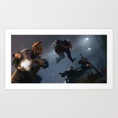 Steve and Bucky the leap Art Print