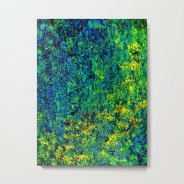 Abstract Flowers yellow and green Metal Print