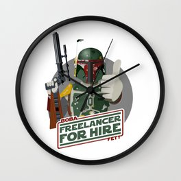 Freelance Bounty Hunter Wall Clock