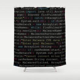 Hacking Malware Source Code (Black background, aligned) Shower Curtain