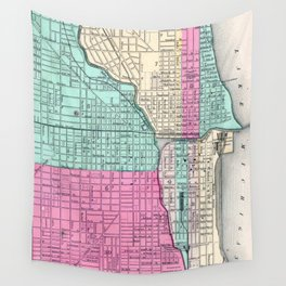 Vintage Map of Chicago IL (1855) Wall Tapestry