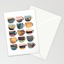 Earthy Coffee Cups Stationery Cards