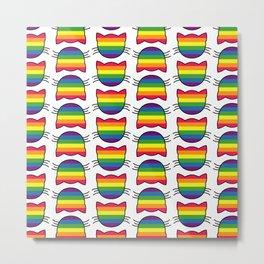LGBT Rainbow Flag Kitty Cat Pattern Metal Print