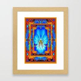 Orange Southwest Blue pansy Patterned Art Design Framed Art Print