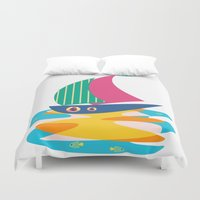 sailing Duvet Covers featuring Sailing by Sam Osborne