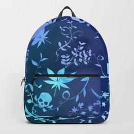 Aqua Pot Leaves and Skulls Backpack