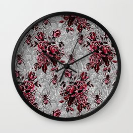 Vintage Roses and Spiders on Lace Halloweeen Watercolor Wall Clock