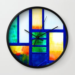 Art Deco Colorful Stained Glass Wall Clock