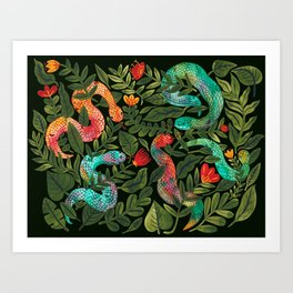 Dark Snakes and Folk Flowers Art Print