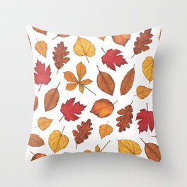 Autumn Leaves Watercolor Pattern | Fall Leaves | Autumn Foliage Design | Throw Pillow