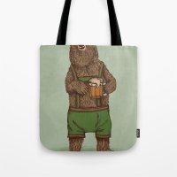 onesie Tote Bags featuring Traditional German Bear by WanderingBert / David Creighton-Pester