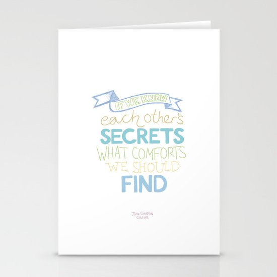 Each other's secrets Stationery Cards