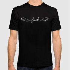 Flying Fuck - White on Black MEDIUM Mens Fitted Tee Black