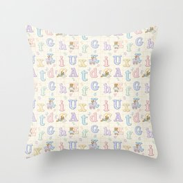 Teddy Bear Alphabet ABC's Throw Pillow