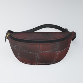 Red natural leather female purse closeup Fanny Pack