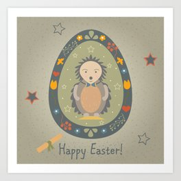 Festive Easter Egg with Cute Character Art Print