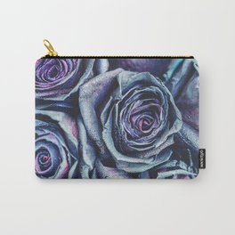 Macro photography of purple - neon roses with raindrops. Fantasy and magic concept. Selective focus. Carry-All Pouch