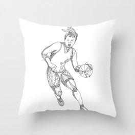 Female Basketball Player Doodle Art Throw Pillow