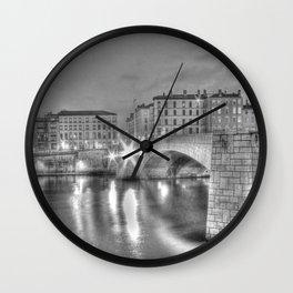 Bonaparte bridge in Lyon, France - hdr b&w Wall Clock