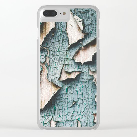Rustic old light blue green peeling paint Clear iPhone Case