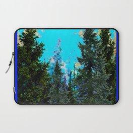 WESTERN PINE TREES LANDSCAPE IN BLUE Laptop Sleeve