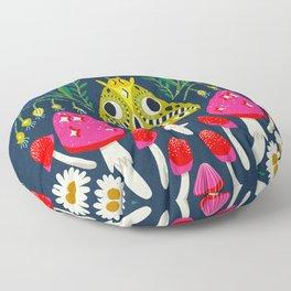 Moth Moon - moon art, witchy art, mushroom art, magic mushrooms, groovy art, daisies Floor Pillow