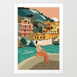 Italy Portofino Travel Poster Art Print