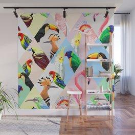 Cool Vintage Retro Tropical Bird Parrot Flamingo Animal Lover Print Wall Mural