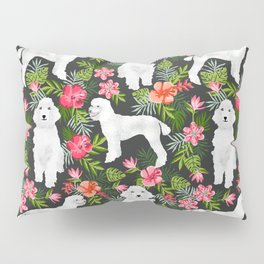 White Poodle floral hawaiian tropical dog breed dogs pet friendly pet art pattern Pillow Sham