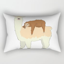 Cute Llama with a Sleeping Sloth Gift Rectangular Pillow