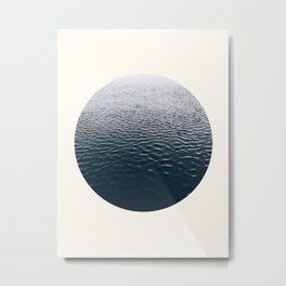Mid Century Modern Round Circle Photo Minimalist Ocean Ripples Metal Print