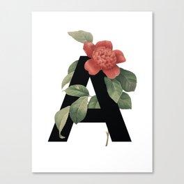 Floral Alphabet Prints: Letter A Canvas Print