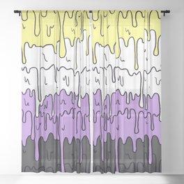 Cute Pride Pastel Melting Pride Design, Non Binary flag Sheer Curtain