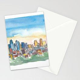 Kansas City Missouri Colorful Impressionistic USA Skyline Painting Stationery Cards