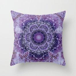 Lilac Boho Brocade Mandala Throw Pillow