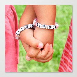 Big Sis & Lil Sis Holding Hands Canvas Print