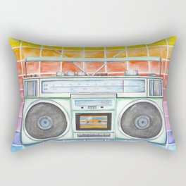Boombox - Watercolor - Rainbow Background vintage boombox - Stereo - 1980s Rectangular Pillow