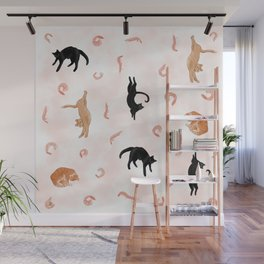 Cats Love Shrimp - Salmon Pink Theme Wall Mural