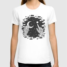 Look to the Skies White MEDIUM Womens Fitted Tee