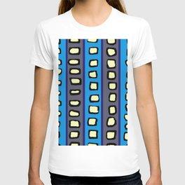 Lines and Circles Dark Gray and Blue T-shirt