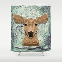 bambi Shower Curtains featuring Bambi by ArtLovePassion