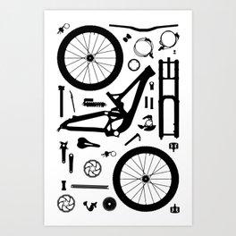 Downhill Bike Parts Art Print